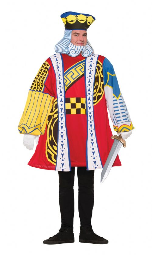Mens King Of Hearts Costume Royal Regal Medieval Fancy Dress Outfit